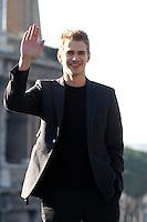 "HAYDEN CHRISTENSEN.Photocall for ""Jumper"", Rome, Italy..February 6th, 2008.half length black jacket hand palm waving.CAP/CAV.©Luca Cavallari/Capital Pictures."