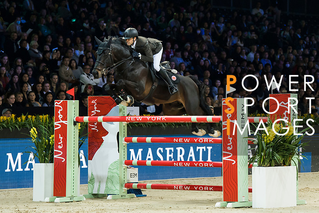 Simon Delestre of France riding Chadino competes in the Longines Speed Challenge during the Longines Masters of Hong Kong at AsiaWorld-Expo on 10 February 2018, in Hong Kong, Hong Kong. Photo by Diego Gonzalez / Power Sport Images