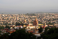 Panoramic view of the Spanish colonial town of San Miguel de Allende, Mexico, from above