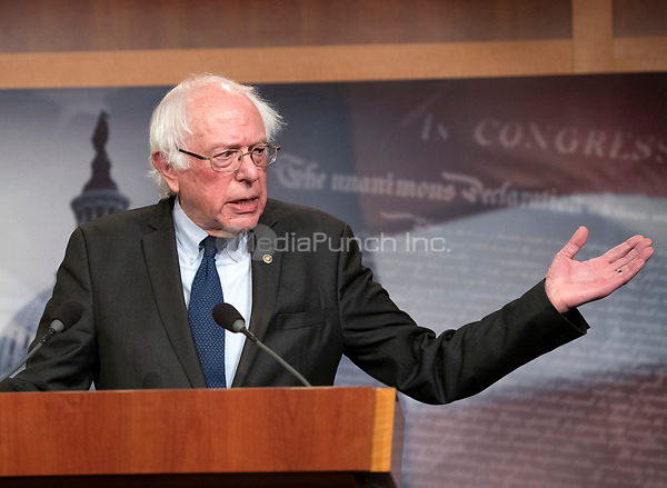 United States Senator Bernie Sanders (Independent of Vermont) publicly apologizes to female staff members from his 2016 presidential campaign who have said they were sexually harassed by co-workers in the US Capitol in Washington, DC on Thursday, January 10, 2019. In his apology, Sanders thanked the women &ldquo;from the bottom of my heart for speaking out&quot;.  Earlier in the day it was reported that his former campaign manager in Iowa, Robert Becker, had been named in a $30,000 federal discrimination settlement with two former employees.<br /> Credit: Ron Sachs / CNP /MediaPunch