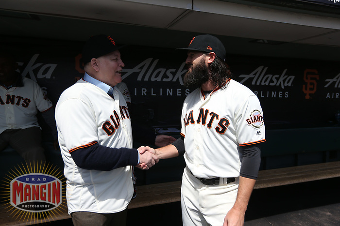"""SAN FRANCISCO, CA - APRIL 8:  John """"The Count"""" Montefusco and Cory Gearrin #26 of the San Francisco Giants talk in the dugout waiting before the game against the Los Angeles Dodgers at AT&T Park on Sunday, April 8, 2018 in San Francisco, California. (Photo by Brad Mangin)"""
