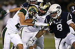 Colorado State's Joe Hansley (25) runs against Nevada defender Ian Seau (8) during the first half of an NCAA college football game in Reno, Nev., on Saturday, Oct. 11, 2014. Colorado State won 31-24. Colorado State's Sam Carlson (71) is at rear. (AP Photo/Cathleen Allison)
