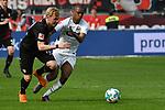 14.04.2018, BayArena, Leverkusen , GER, 1.FBL., Bayer 04 Leverkusen vs. Eintracht Frankfurt<br /> im Bild / picture shows: <br /> Julian Brandt (Leverkusen #10), <br /> Gelson Fernandes (Frankfurt #5),  <br /> <br /> <br /> Foto &copy; nordphoto / Meuter