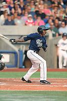 Sergio Alcantara (10) of the Hillsboro Hops bats during a game against the Boise Hawks at Ron Tonkin Field on August 22, 2015 in Hillsboro, Oregon. Boise defeated Hillsboro, 6-4. (Larry Goren/Four Seam Images)