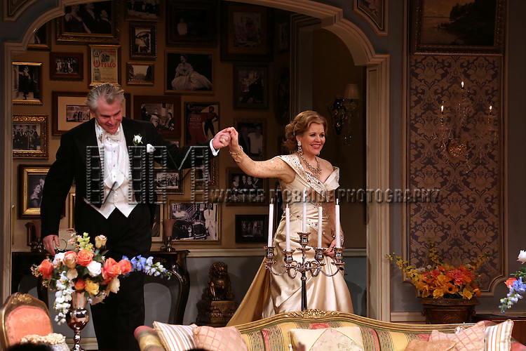 Douglas Sills and Renee Fleming during the Broadway Opening Night Performance Curtain Call for 'Living on Love' at The Longacre Theatre on April 20, 2015 in New York City.