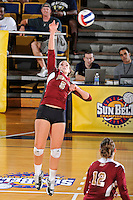 17 November 2011:  Denver outside hitter/defensive specialist Kate Acker (5) hits a kill shot in the second set as the FIU Golden Panthers defeated the Denver University Pioneers, 3-1 (25-21, 23-25, 25-21, 25-18), in the first round of the Sun Belt Conference Tournament at U.S Century Bank Arena in Miami, Florida.