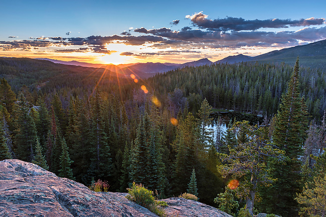 sunrise in Rocky Mountain National Park near Estes Park, Colorado, USA
