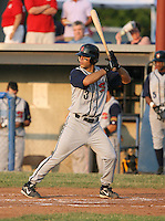 2007: Matt Cavagnaro of the State College Spikes at bat during a game vs. the Batavia Muckdogs in New York-Penn League baseball action.  Photo By Mike Janes/Four Seam Images