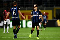 Sime Vrsaljko of Internazionale (R) and Stefan De Vrij of Internazionale celebrate after a goal during the Serie A 2018/2019 football match between Fc Internazionale and AC Milan at Giuseppe Meazza stadium Stadium, Milano, October, 21, 2018 <br />  Foto Andrea Staccioli / Insidefoto