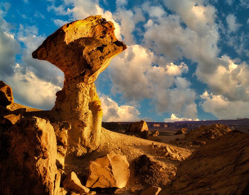Balancing rock at sunset. Glenn Canyon National Recreation Area, Utah