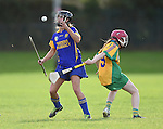 Niki Kaiser of Newmarket in action against Andrea O Keeffe of Inagh-Kilnamona during their senior county final in Clarecastle. Photograph by John Kelly.