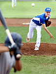 TORRINGTON CT. 27 July 2017-072717SV01-#30 Rob Johnston of the Wolcott Storm pitches to the Colton, CA. Nighthawks during the 2nd inning of the Mickey Mantle World Series in Torrington Thursday.<br /> Steven Valenti Republican-American