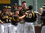 The Galena bench congratulates Jared Kiessling after he hit a home run against Centennial during NIAA DI baseball action at Bishop Manogue High School in Reno, Nev., on Thursday, May 19, 2016. Galena won 4-2. Cathleen Allison/Las Vegas Review-Journal