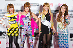 June 23, 2012, Chiba, Japan - Members of the South Korean pop group 2NE1 pose on the red carpet during the MTV Video Music Awards Japan event. (Photo by Christopher Jue/AFLO)