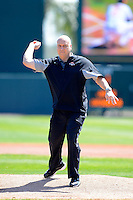 Baltimore Orioles legend Cal Ripken Jr. throws out the ceremonial first pitch before a Spring Training game against the Toronto Blue Jays at Ed Smith Stadium on March 7, 2013 in Sarasota, Florida.  Balitmore defeated Toronto 11-10.  (Mike Janes/Four Seam Images)