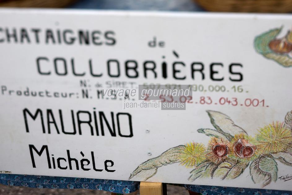Europe/Provence-Alpes-Côte d'Azur/83/Var/Massif des Maures/Collobrières: Lors de la Fête de la Châtaigne - les producteurs vendent leurs châtaignes de Collobrières