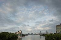 skyline clouds from BU Bridge, Boston, MA