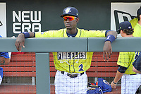 Shortstop Ronny Mauricio (2) of the Columbia Fireflies in the dugout before a game against the Augusta GreenJackets on Friday, May 31, 2019, at Segra Park in Columbia, South Carolina. Augusta won, 8-6. (Tom Priddy/Four Seam Images)
