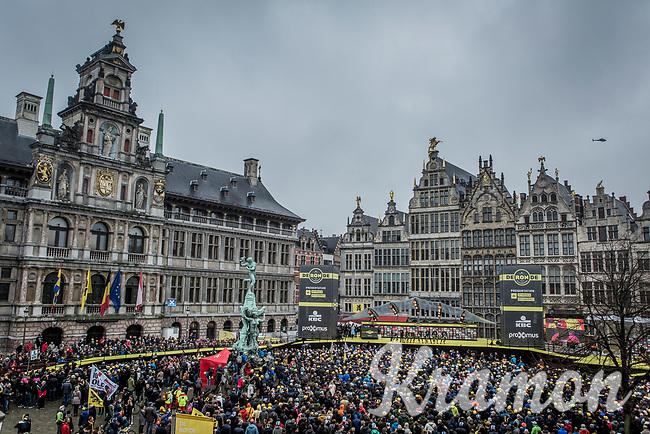 Team EF Education First-Drapac presentation on the spectacular start podium in the center square of the race start town of Antwerp<br /> <br /> 102nd Ronde van Vlaanderen 2018 (1.UWT)<br /> Antwerpen - Oudenaarde (BEL): 265km