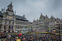 Team EF Education First-Drapac presentation on the spectacular start podium in the center square of the race start town of Antwerp<br /> <br /> 102nd Ronde van Vlaanderen 2018 (1.UWT)<br /> Antwerpen - Oudenaarde (BEL): 265km