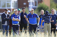 Conor Purcell (GB&I) and Alex Fitzpatrick (GB&I) on the 17th tee during the Foursomes at the Walker Cup, Royal Liverpool Golf CLub, Hoylake, Cheshire, England. 07/09/2019.<br /> Picture Thos Caffrey / Golffile.ie<br /> <br /> All photo usage must carry mandatory copyright credit (© Golffile | Thos Caffrey)