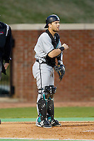 Coastal Carolina Chanticleers catcher Tyler Chadwick (32) on defense against the High Point Panthers at Willard Stadium on March 14, 2014 in High Point, North Carolina.  The Panthers defeated the Chanticleers 3-0.  (Brian Westerholt/Four Seam Images)