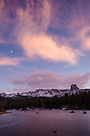 Moon and pink clouds over Lake Mary at dusk, Mammoth Lakes, Inyo National Forest, California