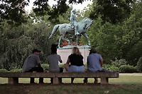 The City of Charlottesville prepares for the Unite The Right rally at the Robert E. Lee Statue in Emancipation Park. Photo/Andrew Shurtleff