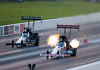 Jun 7, 2019; Topeka, KS, USA; NHRA top fuel driver Scott Palmer (left) alongside Billy Torrence during qualifying for the Heartland Nationals at Heartland Motorsports Park. Mandatory Credit: Mark J. Rebilas-USA TODAY Sports