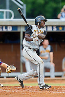 Kevin Jordan #21 (Wake Forest) of the Wilson Tobs connects for a solo home run against the High Point-Thomasville HiToms at Finch Field on June 17, 2013 in Thomasville, North Carolina.  The Tobs defeated the HiToms 3-2 in 11 innings.  Brian Westerholt/Four Seam Images