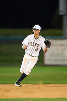 Pitt Panthers shortstop Charles LeBlanc (14) during warmups before a game against the Ohio State Buckeyes on February 20, 2016 at Holman Stadium at Historic Dodgertown in Vero Beach, Florida.  Ohio State defeated Pitt 11-8 in thirteen innings.  (Mike Janes/Four Seam Images)