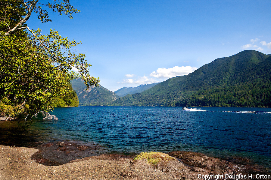 Lake Crescent, over 600 feet deep, lies along U.S. 101 within Olympic National Park.  Olympic Penninsula, Washington.  Outdoor Adventure. Olympic Peninsula