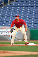 Clearwater Threshers first baseman Kyle Martin (27) during a game against the Charlotte Stone Crabs on April 12, 2016 at Bright House Field in Clearwater, Florida.  Charlotte defeated Clearwater 2-1.  (Mike Janes/Four Seam Images)