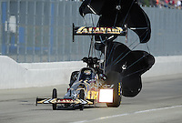 Feb. 12, 2012; Pomona, CA, USA; NHRA top fuel dragster driver Khalid Albalooshi during the Winternationals at Auto Club Raceway at Pomona. Mandatory Credit: Mark J. Rebilas-