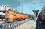 "On a hot summer day in 1966, the Frisco Railroad's ""Comanche"" passenger train prepares to pull out of Springfield, Missouri. Oil on canvas, 18""x28""."
