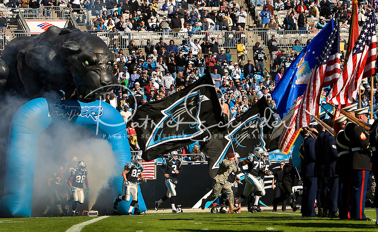 The Carolina Panthers are introduced against the Detroit Lions during an NFL football game at Bank of America Stadium in Charlotte, NC.