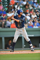 First baseman Jacob Bosiokovic (21) of the Asheville Tourists in a game against the Greenville Drive on Tuesday, May 2, 2017, at Fluor Field at the West End in Greenville, South Carolina. Asheville won, 7-1. (Tom Priddy/Four Seam Images)