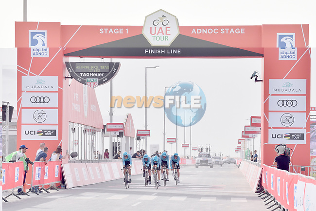 Astana Pro Team approach the finish line of Stage 1 of the 2019 UAE Tour, a team time trial running 16km around Al Hudayriat Island, Abu Dhabi, United Arab Emirates. 24th February 2019.<br /> Picture: LaPresse/Massimo Paolone | Cyclefile<br /> <br /> <br /> All photos usage must carry mandatory copyright credit (© Cyclefile | LaPresse/Massimo Paolone)