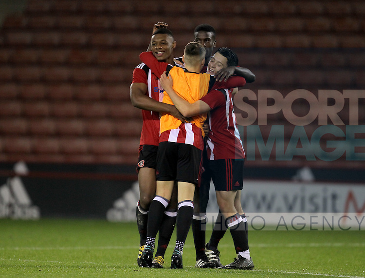 Sheffield United players celebrate the win during the FA Youth Cup First Round match at Bramall Lane Stadium, Sheffield. Picture date: November 1st 2016. Pic Richard Sellers/Sportimage