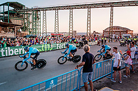 Team Movistar is the last team to start (as the sun sets)<br /> <br /> Stage 1 (TTT): Salinas de Torrevieja to Torrevieja (13.4km)<br /> La Vuelta 2019<br /> <br /> ©kramon