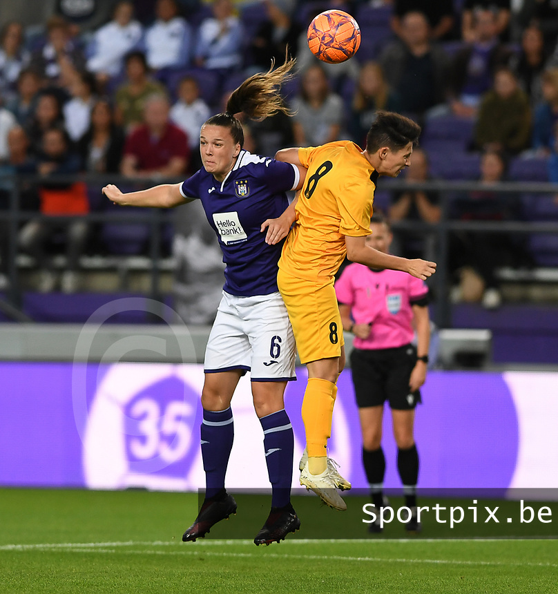 20190912 - Anderlecht , BELGIUM : Anderlecht's Tine De Caigny (left) pictured in a duel with Biik's Kamila Kulmagambetova during the female soccer game between the Belgian Royal Sporting Club Anderlecht Dames  and BIIK Kazygurt from Shymkent in Kazachstan, this is the first leg in the round of 32 of the UEFA Women's Champions League season 2019-20120, Thursday 12 th September 2019 at the Lotto Park in Anderlecht , Belgium. PHOTO SPORTPIX.BE | DAVID CATRY