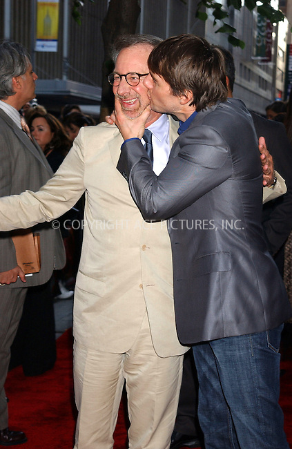 WWW.ACEPIXS.COM . . . . .  ....NEW YORK, JUNE 23, 2005....Steven Spielberg and Tom Cruise at the premiere of War of the Worlds at the Ziegfeld Theater.....Please byline: KRISTIN CALLAHAN - ACE PICTURES.... *** ***..Ace Pictures, Inc:  ..Craig Ashby (212) 243-8787..e-mail: picturedesk@acepixs.com..web: http://www.acepixs.com