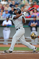 Huntsville Stars center fielder D'Vontrey Richardson #21 swings at a pitch during a game against Tennessee Smokies at Smokies Park on April 25, 2014 in Kodak, Tennessee. The Stars defeated the Smokies 15-1. (Tony Farlow/Four Seam Images)