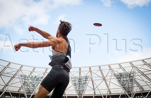 August 12th 2017, London Stadium, East London, England; IAAF World Championships, Day 9;  dpatop - German athlete Rico Freimuth in action during the men's decathlon discus event at the IAAF World Championships in London, UK, 12August 2017.