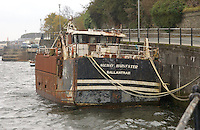 Fishing vessel Solway Harvester BA794 which capsized and sunk 11 miles east of the Isle of Man on 11 January 2000 with the loss of 7 lives. Now in Douglas harbour, Isle of Man.