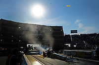 Jun. 29, 2012; Joliet, IL, USA: NHRA top fuel dragster driver Morgan Lucas during qualifying for the Route 66 Nationals at Route 66 Raceway. Mandatory Credit: Mark J. Rebilas-