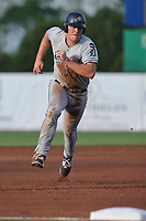 West Michigan Whitecaps first baseman Blaise Salter (24) runs to third base during a game against the Burlington Bees at Community Field on May 11, 2017 in Burlington, Iowa.  The Whitecaps won 10-3.  (Dennis Hubbard/Four Seam Images)