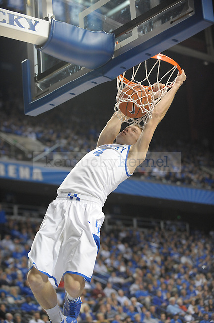 Sophomore Jon Hood dunks during the UK mens basketball Dillard exhibition game. Photo by Mike Weaver | Staff