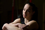 Champion British gymnast Beth Tweddle, pictured during a break in training at a gym in Toxteth, Liverpool. Beth was training for the forthcoming world championships and the 2008 Olympic games in Beijing.