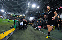 Sonny Bill Williams runs out for the Steinlager Series international rugby match between the New Zealand All Blacks and France at Forsyth Barr Stadium in Wellington, New Zealand on Saturday, 23 June 2018. Photo: Dave Lintott / lintottphoto.co.nz